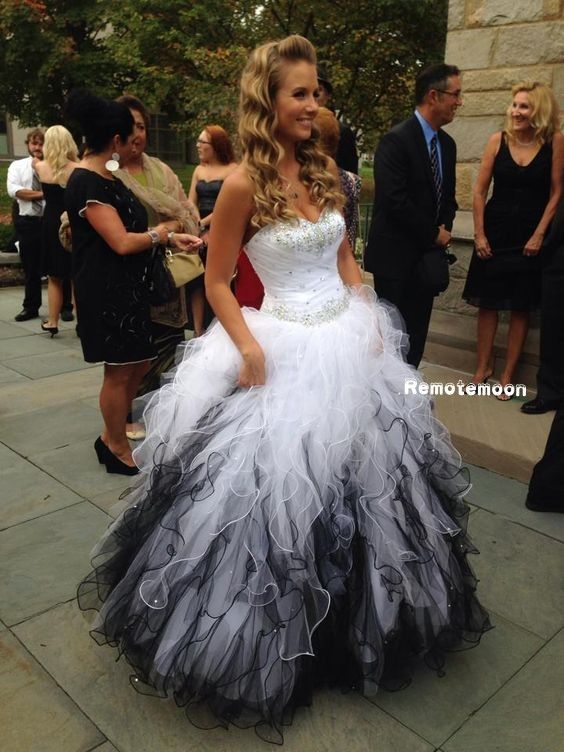 Black and White Ruffled Tulle Ball Gown Quinceanera Dress