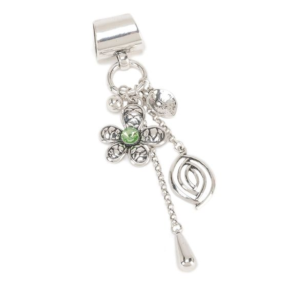 Flower and Charm Scarf Jewelry Green: Scarf Jewelry, Jewelry Green, Costume Jewelry, Scarf Charms, Green Jewelry, Multiple Charms