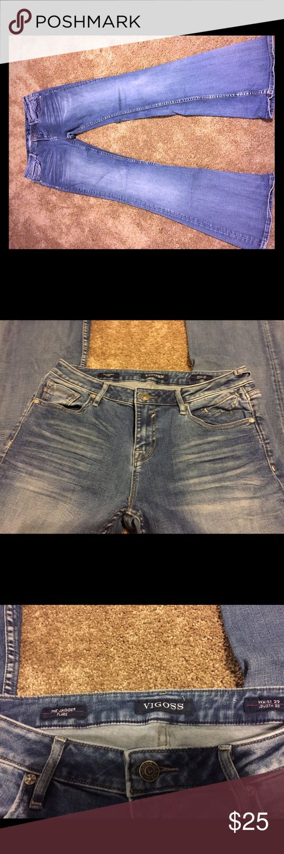 "Vigoss jagger flare Vigoss jagger flare jeans. Worn twice. Do not fit me anymore. They have a little stretch to them and are quite comfortable. Have a larger flare. Great condition. 33"" inseam Vigoss Jeans Flare & Wide Leg"