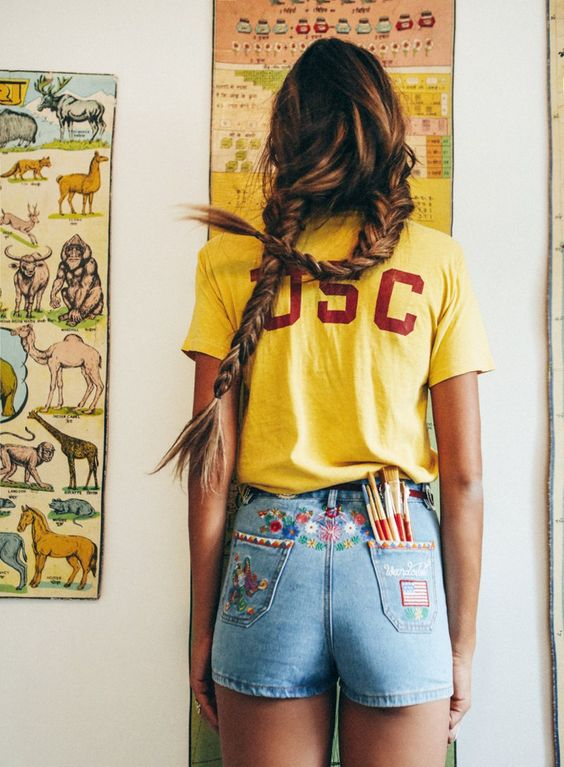 vintage tee's and embroidered shorts.