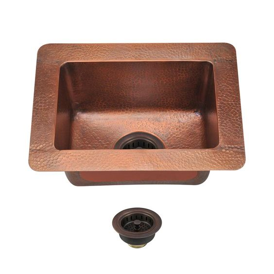 All-in-One Undermount Copper (Brown) 16-1/2 in. Single Bowl Kitchen Sink