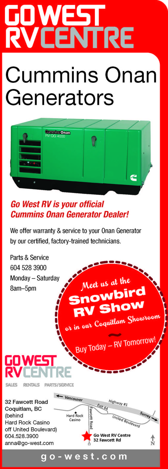Did you know Go West RV was an official Onan Generator Dealer? I didn't see that Cummins (ha ha ha) #Cummins #onan #Generator #rv #motorhome
