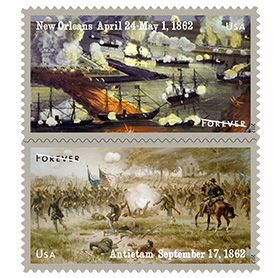 The Civil War: 1862 Stamps: The Civil War: 1862 (Forever®) postage stamps depict two pivotal Civil War battles from 1862; the Battle of New Orleans and the Battle of Antietam. Issue Date: April 24, 2012