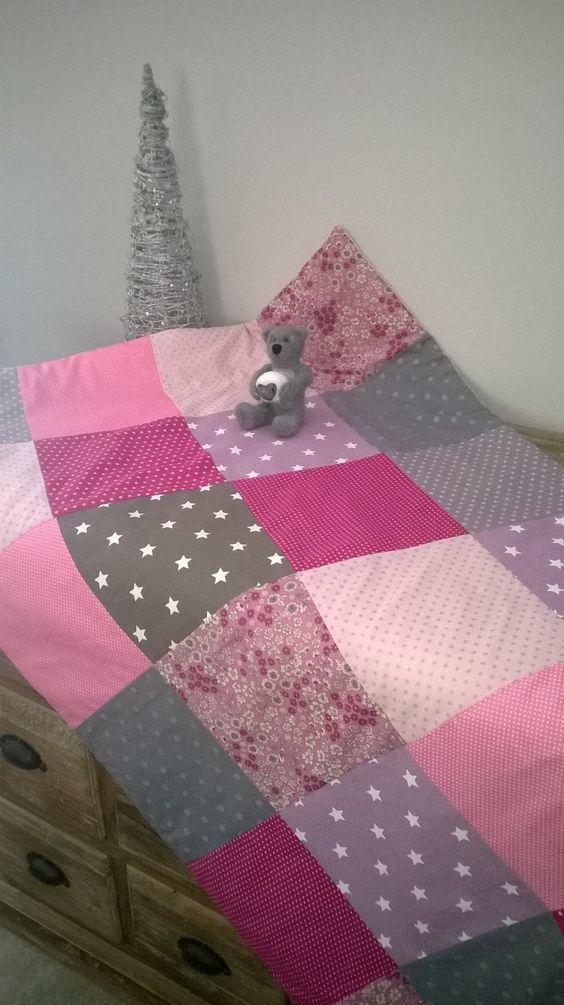 Couverture patchwork en coton et popeline b b pour b b - Couverture en coton ...