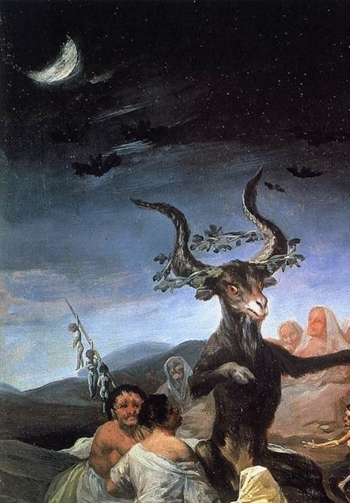 "Detail from Goya's ""Witches' Sabbath"", 1789."