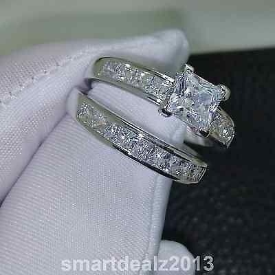 74229 Jewelry 14k White Gold Sterling Silver Princess Cut Diamond Engagement Ring Wedding Set It