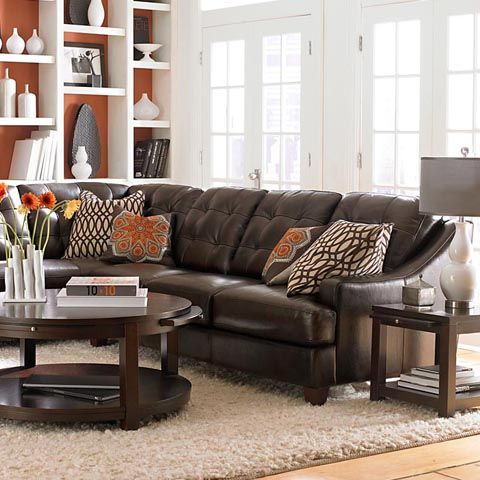 Mercer left chaise leather sectional by bassett furniture for Bassett sectional sofa with chaise