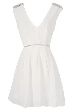 Belted Beaded Shoulder Chiffon Dress in White.   Reception Dress