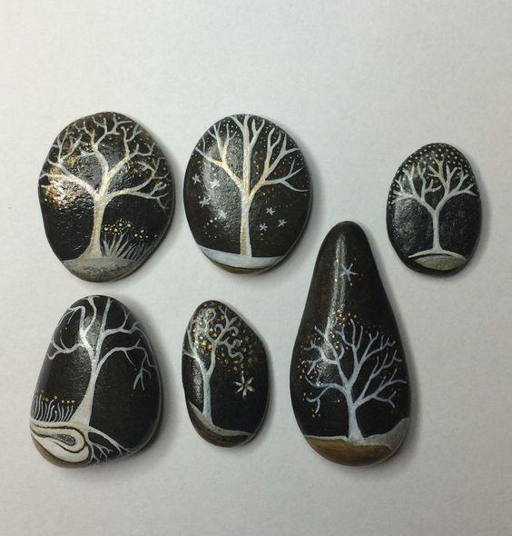 d coration galets peints acrylique arbre by. Black Bedroom Furniture Sets. Home Design Ideas
