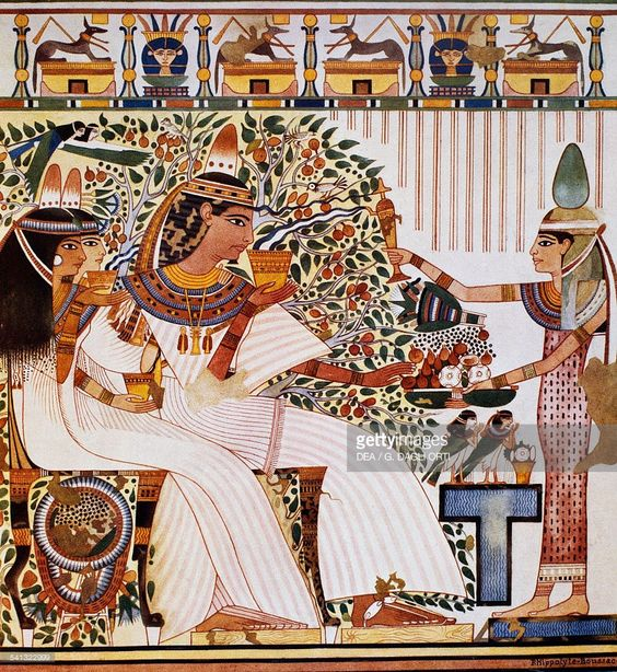Userhat with his wife Hatshepsut and mother Twosret in front of the Sycamore Tree.