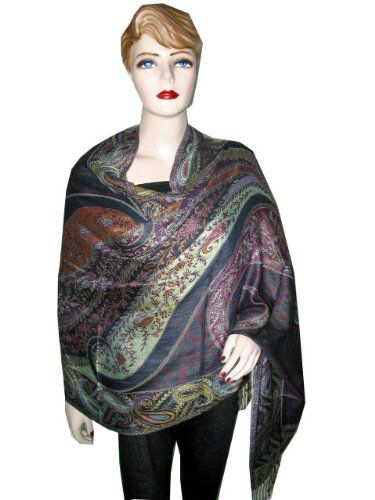 Arsenic Floral Paisely Design Reversible Pashmina Shawl Wrap Throw Stole $38.99