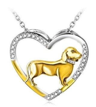 Dachshund Sterling Silver Heart Necklace