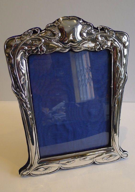 Large Antique English Art Nouveau Sterling Silver Photograph Frame 1902   eBay