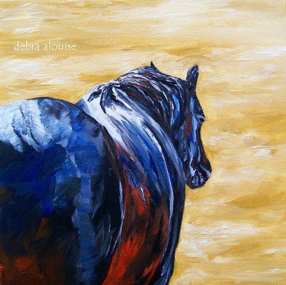 Lone Horse Original Oil Painting by Artist Debra by grandhorse