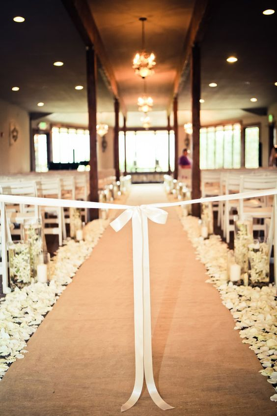 Love the ribbon blocking off the aisle.    Tamara & Steve Burlap & Lace Themed Vintage DIY Wedding Heather Lynn Photographie: