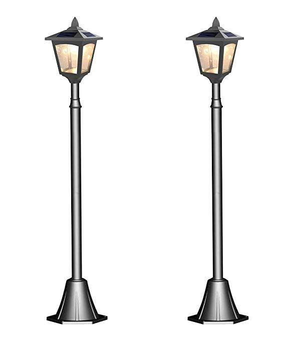 Kanstar 2pack 42 Mini Street Vintage Outdoor Garden Post Solar Lamp Post Light Lawn Adjustable Pack 2 Review Lamp Post Lights Solar Lamp Post Solar Lamp