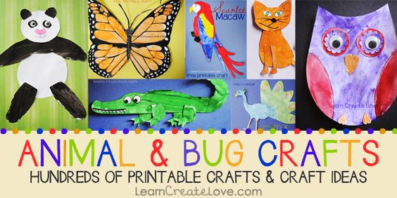 Animal Crafts! From fish to mammals to dinosaurs... Tons of FREE Printable crafts! LearnCreateLove.com