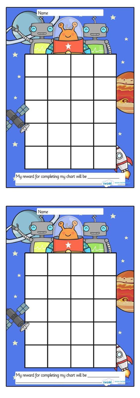 space sticker stamp reward chart free printables