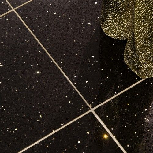 Gemstone Black Wall And Floor Tile White