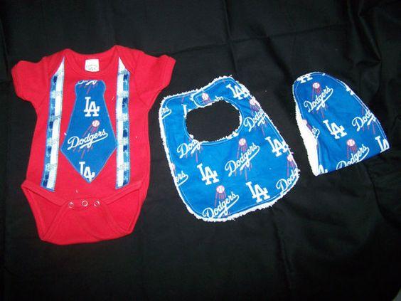 Baby Boy Dodgers Onesie Tie Suspenders Bib Burp On by sososophie