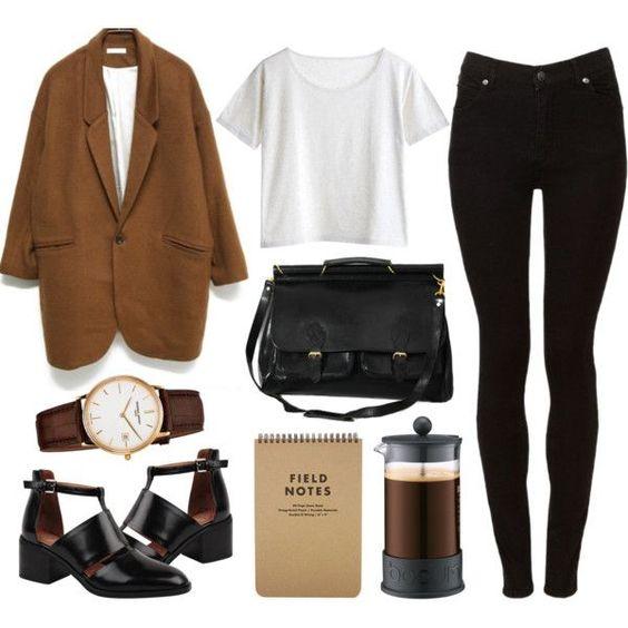 jacket (corduroy would be good), white t-shirt, black skinny jeans, black leather messenger bag