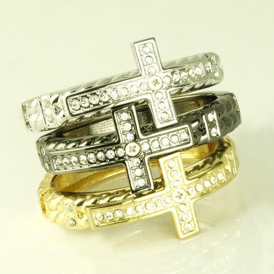 Alloy Pave Cross Bangle Bracelets