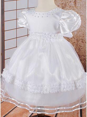 Princesa Coquetel Vestidos de Menina das Flores - Tule Manga curta Decote redondo com Cintos/Beading/fecho de correr