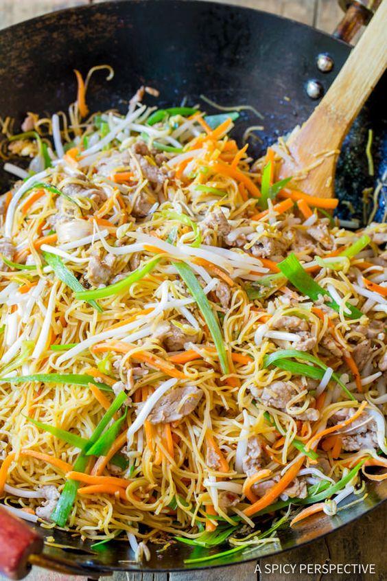 The Best Cantonese Pan Fried Noodles (Pork Lo Mein)   ASpicyPerspective.com