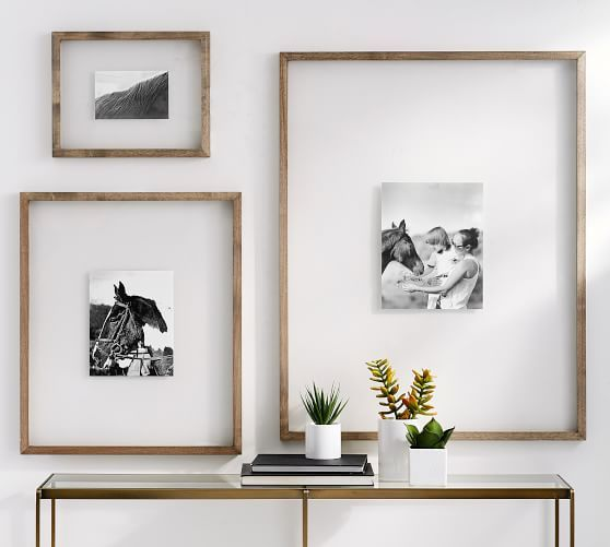 Floating Wood Gallery Picture Frames Pottery Barn Gallery Wall Design Gallery Wall Frames Wood Gallery Frames