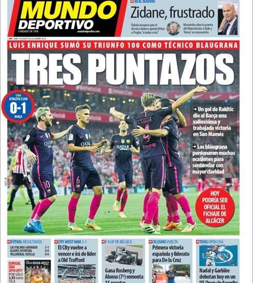 Portada de Mundo Deportivo del 29 de agosto de 2016