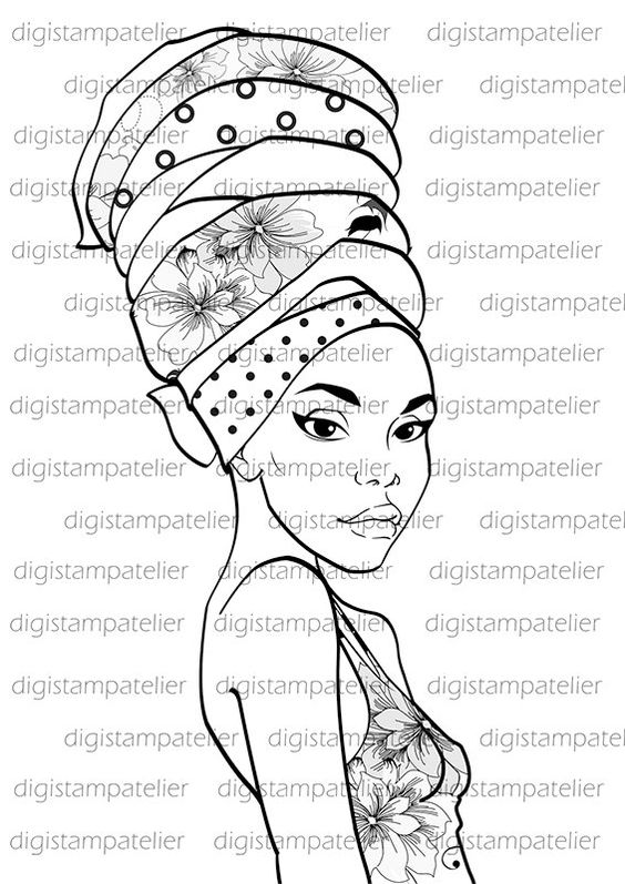 african beauty  instant download digital digi stamps