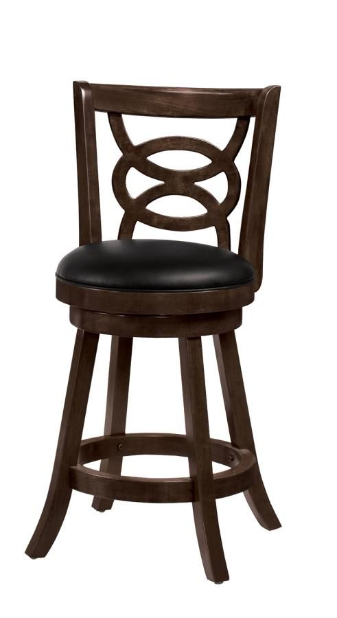 2 Golden Brown Wood 24 Inch Swivel Bar Stools
