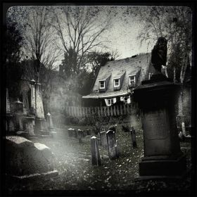Haunted Cemetary with spooky mist...
