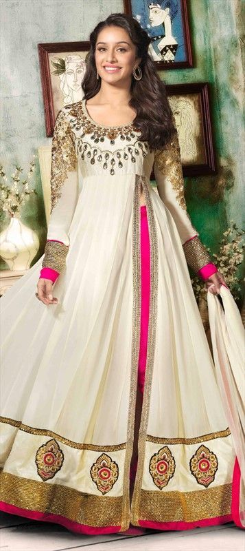 Deep white bridal frock with embroidered neck and Daman