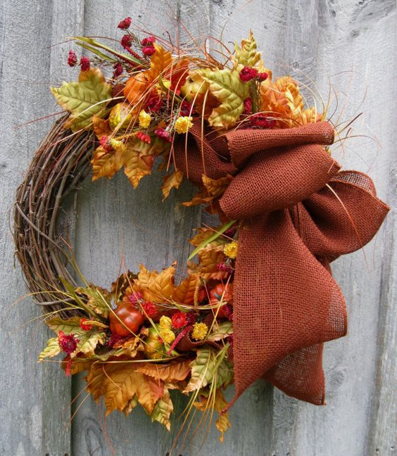Fall Wreath, Autumn Decor, Thanksgiving, Rustic Fall, Woodland, Halloween, Harvest Wreath