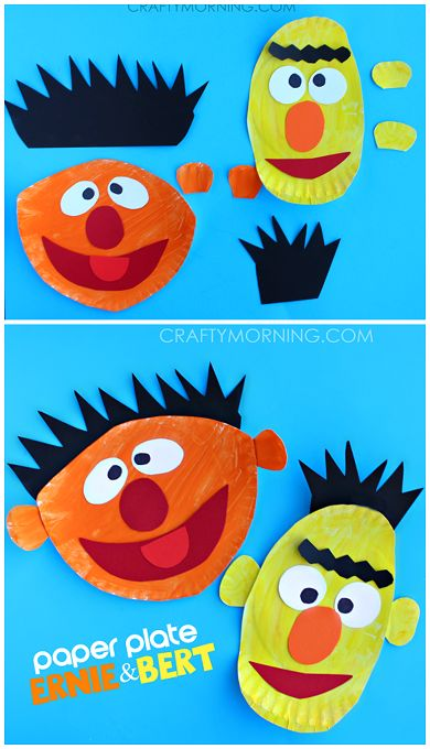 Ernie and Bert Paper Plate Crafts for Kids (Sesame Street art projects) | CraftyMorning.com
