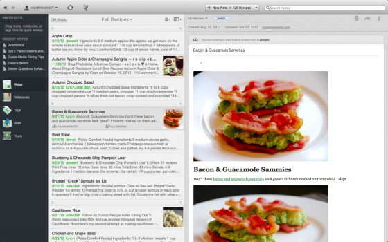 how to use evernote as no starch menu planner