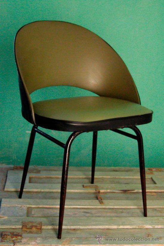 Silla skay a os 60 color verde negro retro butaca vintage - Sillas anos 60 ...