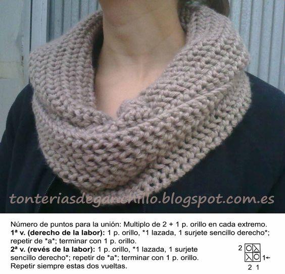 Bufandas cuellos tejidos dos agujas - Como hacer punto de lana para principiantes ...
