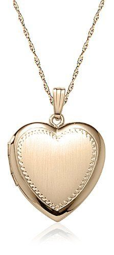 """Yellow 14k Gold-Filled Satin Finish with Polished Edge Heart Locket Necklace, 18"""" Amazon Curated Collection. Save 40 Off!. $69.00. Made in United States"""