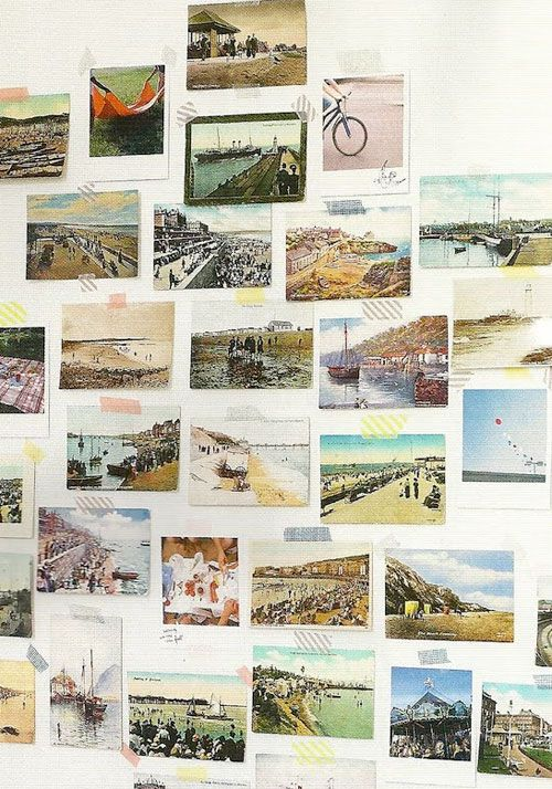 postcard or photo collection with tape