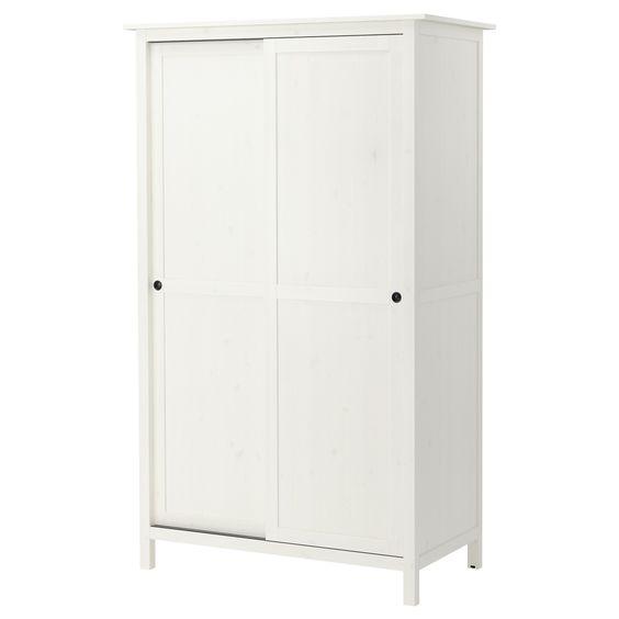 HEMNES Kleiderschrank mit 2 Schiebetüren - weiß gebeizt - IKEA