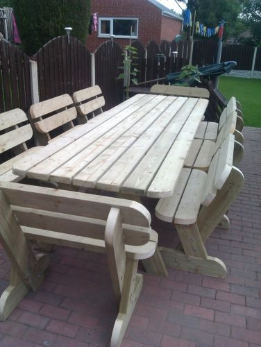 Heavy Duty Garden Picnic Pub Table And Bench Set Massive Garden Furniture Ebay Poolhouse