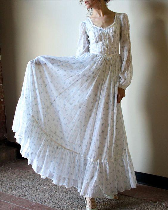 70s Gunne Sax Boho Wedding Dress Fall Hippie Wedding