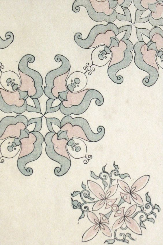 Antique Woodblock Print Japanese Ancient Designs Meiji 23 1890 6 1/4 x 9 inches