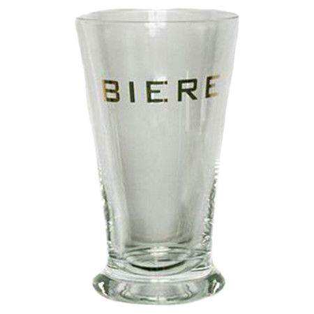 Add a classic touch to your home bar with this flared pilsner glass, featuring a gold text print for cosmopolitan appeal.  Product: ...