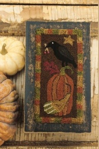 """A darling new punch needle pattern by Stacy West of Buttermilk Basin.The Fall Crow with Pumpkin punch needle pattern measures 3"""" x 6.5"""""""