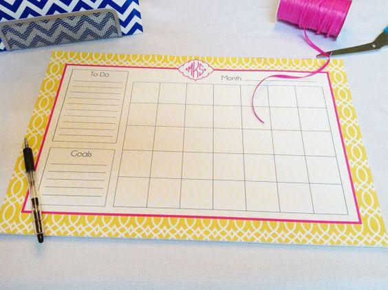 Calendar Note Pad Or Desk Planner By Thepreppyladybug 48