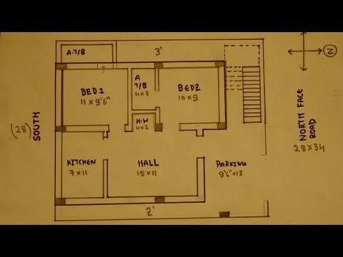 3bhk 30 40 East Face House Plan Map Naksha Youtube 2bhk House Plan North Facing House House Map