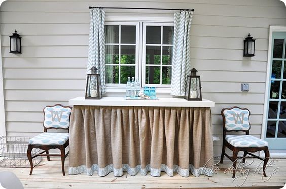 Pretty skirted outside table - burlap and a fabric border